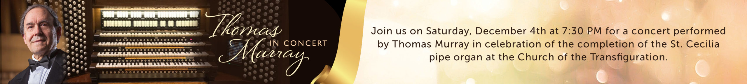 Banner image advertising Thomas Murray in Concert at the Church of the Transfiguration
